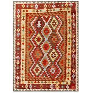 Herat Oriental Afghan Hand-woven Tribal Wool Kilim (4'10 x 6'6)