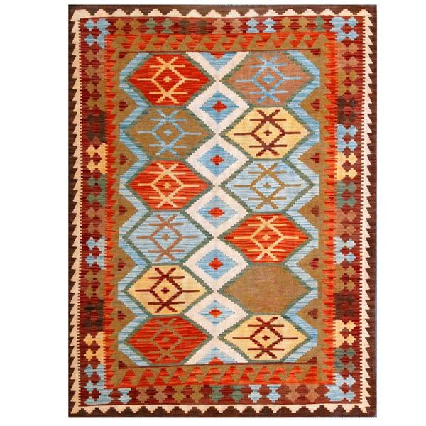 Handmade Wool Kilim (Afghanistan) - 4'10 x 6'6