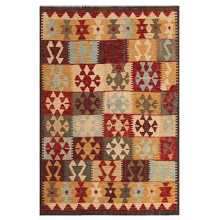 Herat Oriental Afghan Hand-woven Tribal Wool Kilim (4' x 5'9)