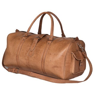 Handcrafted Large Tan Moroccan Leather Duffel Bag (Morocco)
