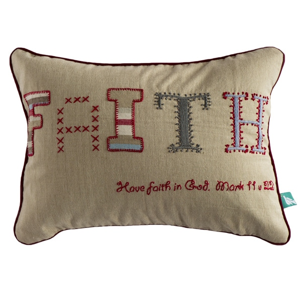 Hand-embroidered 'Faith' Pillow Cover  , Handmade in India