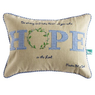 Handmade Inspirational 'Hope' Pillow Cover (India)