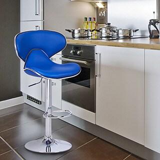 Adeco Blue Cushioned Leatherette Adjustable Saddleback Barstool Chair with Chrome Finished Pedestal Base (Set of 2)