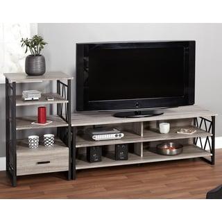 Simple Living Seneca 60-inch Black/ Grey 2-piece TV Stand and Pier Set