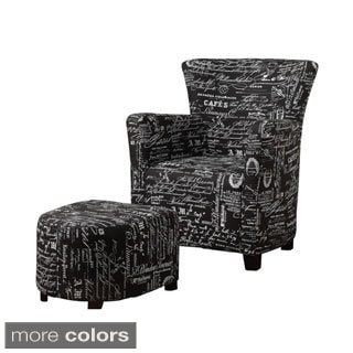 Alicia Fabric Club Chair with Ottoman