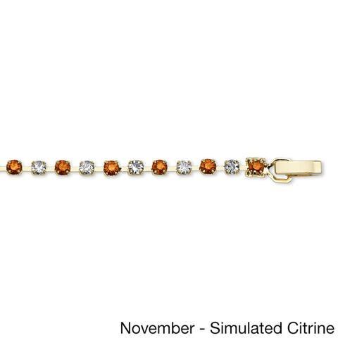 Round Birthstone Tennis Bracelet in Yellow Gold Tone Color Fun