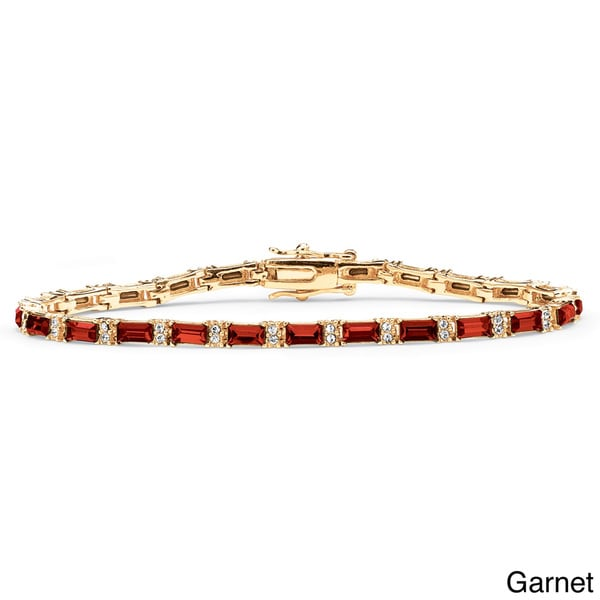 Yellow Gold-Plated Emerald-Cut Birthstone Tennis Bracelet. Opens flyout.