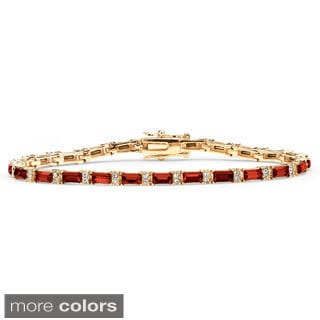 PalmBeach 14k Yellow Gold-Plated Emerald-Cut Birthstone Tennis Bracelet