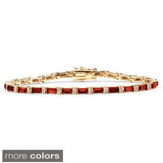14k Yellow Gold-Plated Emerald-Cut Birthstone Tennis Bracelet (More options available)