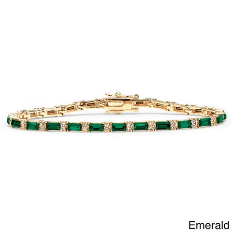 Yellow Gold-Plated Emerald-Cut Birthstone Tennis Bracelet