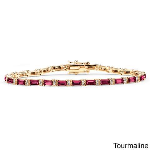 Yellow Gold-Plated Emerald-Cut Birthstone Tennis Bracelet