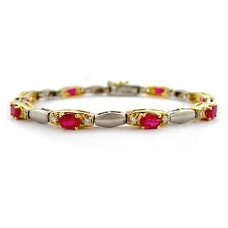 Kabella 14k Two-tone Matte Gold Oval Ruby Diamond Bracelet