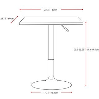 CorLiving Adjustable Height Wood Finished Square Bar Table