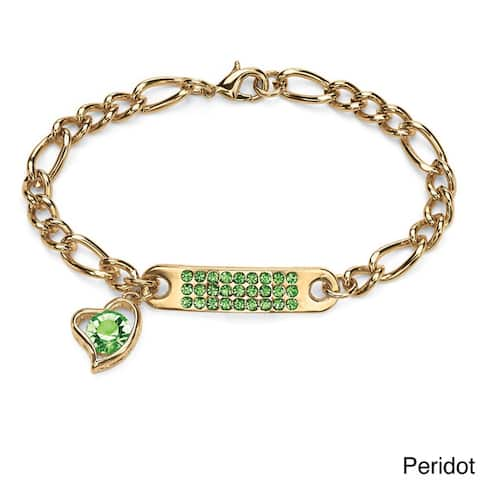 """Birthstone I.D. Plaque and Heart Charm Figaro-Link Bracelet in Yellow Gold Tone 7"""" Color F"""