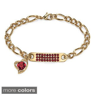 "Birthstone I.D. Plaque and Heart Charm Figaro-Link Bracelet in Yellow Gold Tone 7"" Color F"