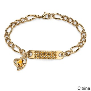 """Birthstone I.D. Plaque and Heart Charm Figaro-Link Bracelet in Yellow Gold Tone 7"""" Color F (More options available)"""