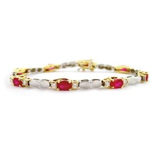 Kabella 14k Two-tone Gold 1 1/10ct TDW Diamond Oval Ruby Diamond Bracelet (H-I, SI1-SI2)
