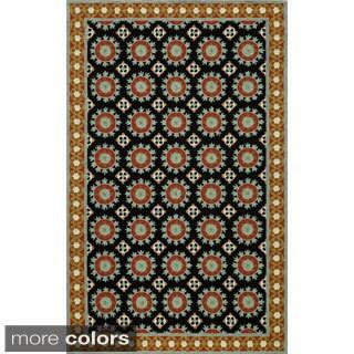 Uzbek Harmony Black Hand-Hooked Wool Indoor Rug (2' x 3')