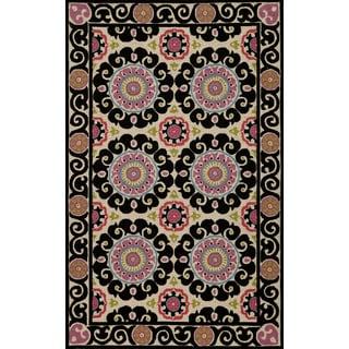 "Uzbek Vibes Aqua Hand-Hooked Wool Indoor Rug (3'6"" x 5'6"")"