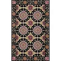 Momeni Suzani Hook Aqua Hand-Hooked Wool Rug (3'6 X 5'6)