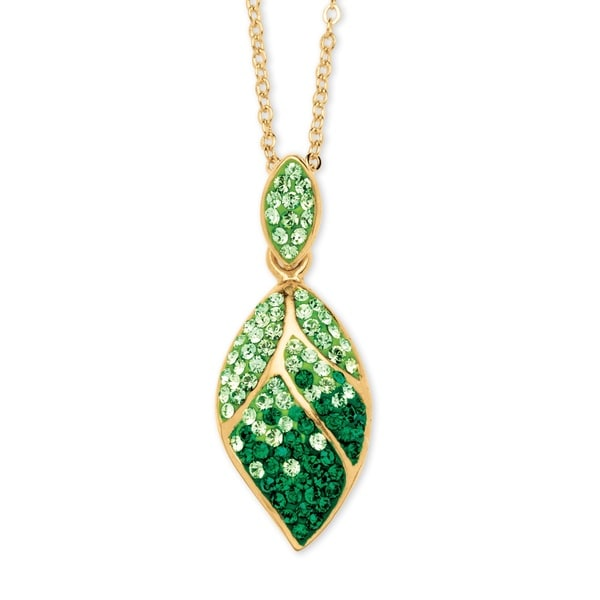 Shop Pave Evergreen and Light Green Crystal Leaf Pendant