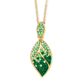 Pave Evergreen and Light Green Crystal Leaf Pendant Necklace Made with SWAROVSKI ELEMENTS