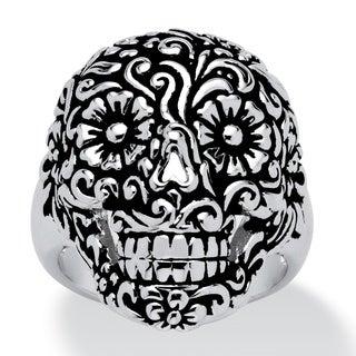 PalmBeach Flowery Skull Ring Platinum-Plated Tailored