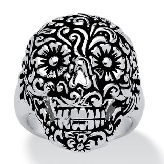 PalmBeach Flowery Skull Ring Platinum-Plated Tailored (5 options available)