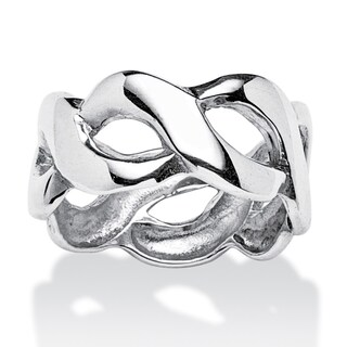 Crossover Link Style Ring in Sterling Silver Tailored (More options available)