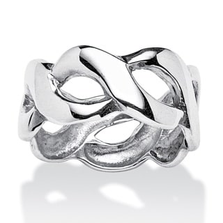 PalmBeach Crossover Link Style Ring in Sterling Silver Tailored