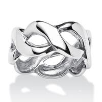 Crossover Link Style Ring in Sterling Silver Tailored