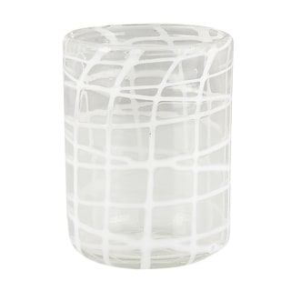 Abstract White Criss-Cross Rocks Glasses (Set of 4)