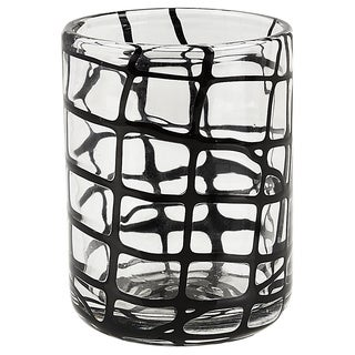 Black Criss-cross Abstract Rocks Glasses (Set of 4)