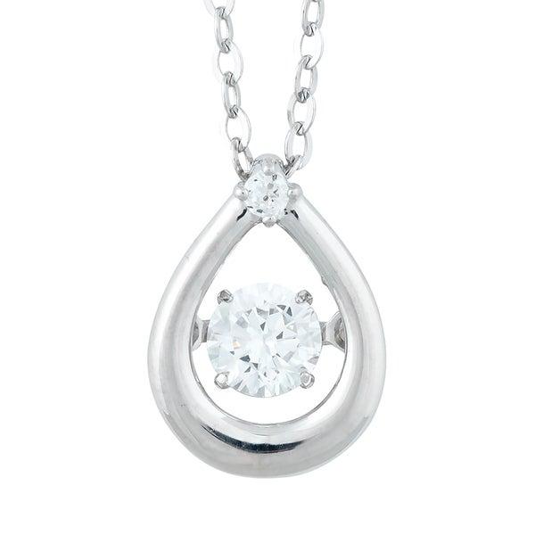 La Preciosa Sterling Silver Dancing Cubic Zirconia Teardrop Pendant Necklace