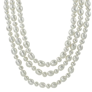 Pearls For You 60-inch Endless White Freshwater Pearl Necklace (6-6.5 mm, 9-9.5 mm)