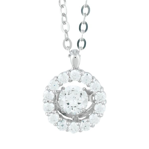 La Preciosa Sterling Silver Dancing Cubic Zirconia Halo Pendant Necklace
