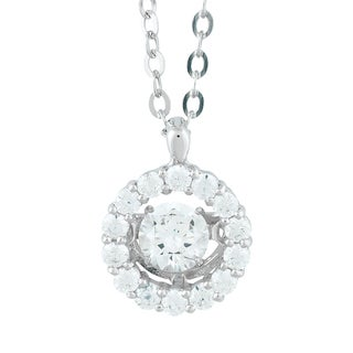 La Preciosa Sterling Silver Dancing Cubic Zirconia Halo Pendant Necklace