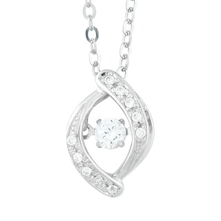 La Preciosa Sterling Silver 3 mm Dancing Cubic Zirconia Pendant Necklace