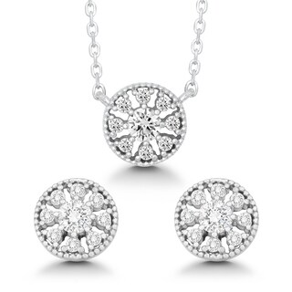 La Preciosa Sterling Silver Cubic Zirconia Circle Earrings and Pendant Necklace Set