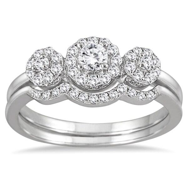 Marquee Jewels 10k White Gold 1/2ct Three-stone Diamond Cluster Bridal Set