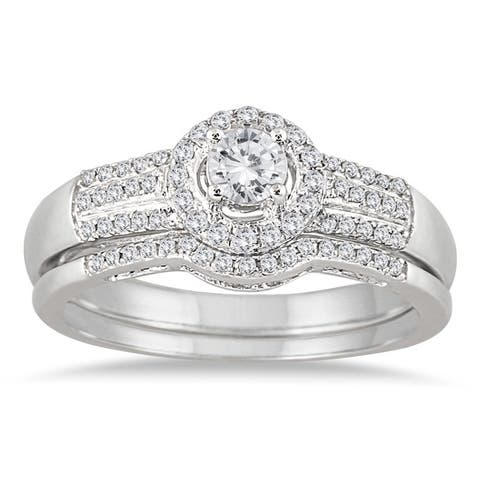 Marquee Jewels 10k White Gold 2/5ct TDW Diamond Halo Bridal Ring Set