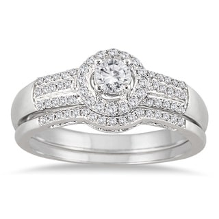 Marquee Jewels 10k White Gold 2/5ct TDW Diamond Halo Bridal Ring Set (I-J, I1-I2)