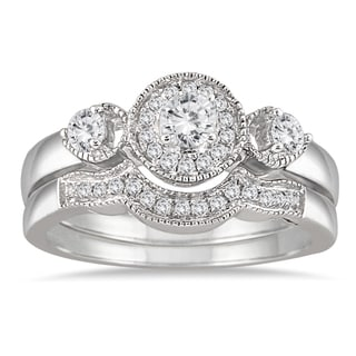 Marquee Jewels 10k White Gold 1/2ct TDW Antique Diamond Bridal Ring Set (I-J, I1-I2)