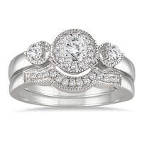 Marquee Jewels 10k White Gold 1/2ct TDW Antique Diamond Bridal Ring Set