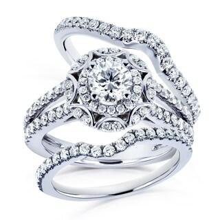Annello by Kobelli 14k White Gold 1 2/5ct TDW Round Diamond Floral 3-piece Bridal Rings Set