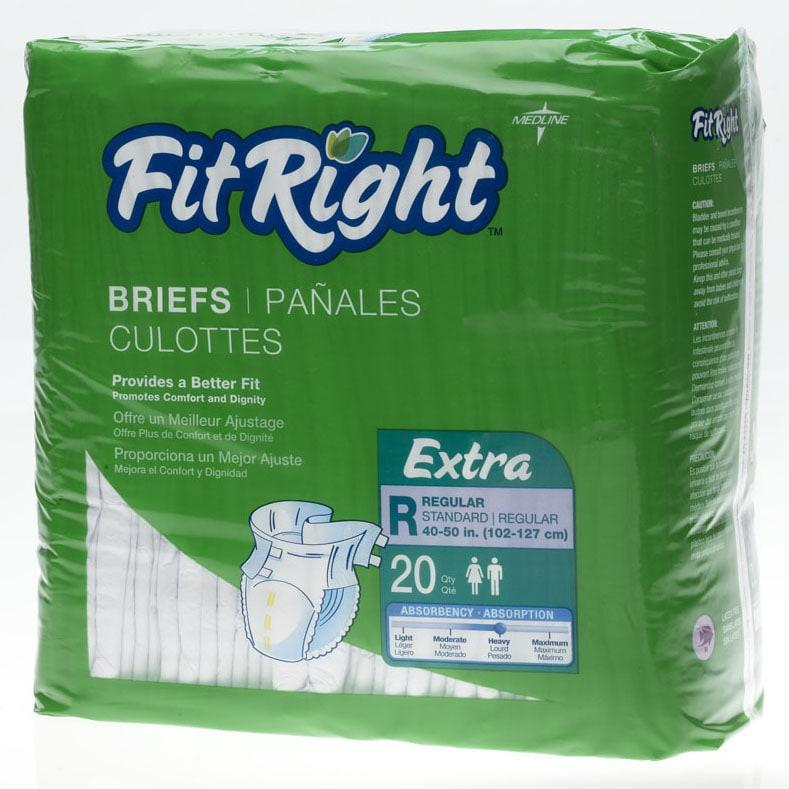 medline FitRight Extra Briefs (80 Count) (Regular, 40 - 5...