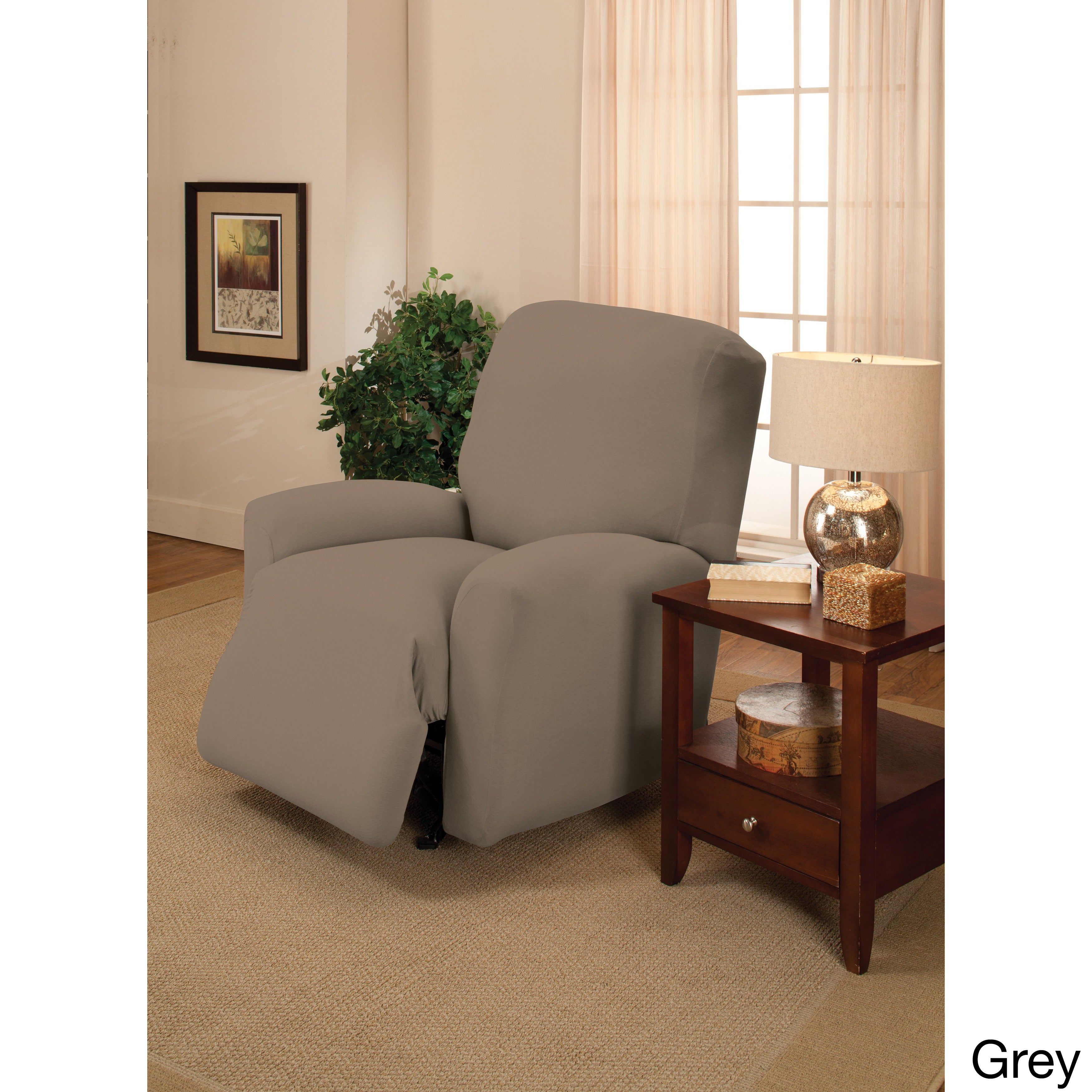 Sanctuary Large Stretch Jersey Recliner Slipcover (Grey) ...
