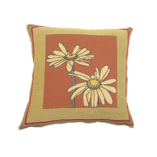 Corona Decor French Woven Daisy Design Decorative Throw Pillow