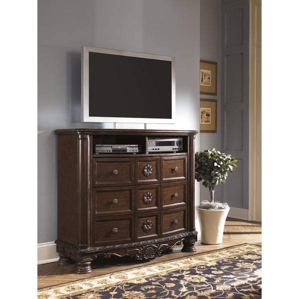 Shop Signature Designs By Ashley North Shore Dark Brown Media Chest Free Shipping Today