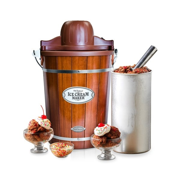 Nostalgia ICMP600WD 6 Quart Wood Bucket Ice Cream Maker